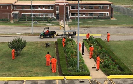 Inmates at Jess Dunn Correctional Center wearing orange uniforms while working in the yard.