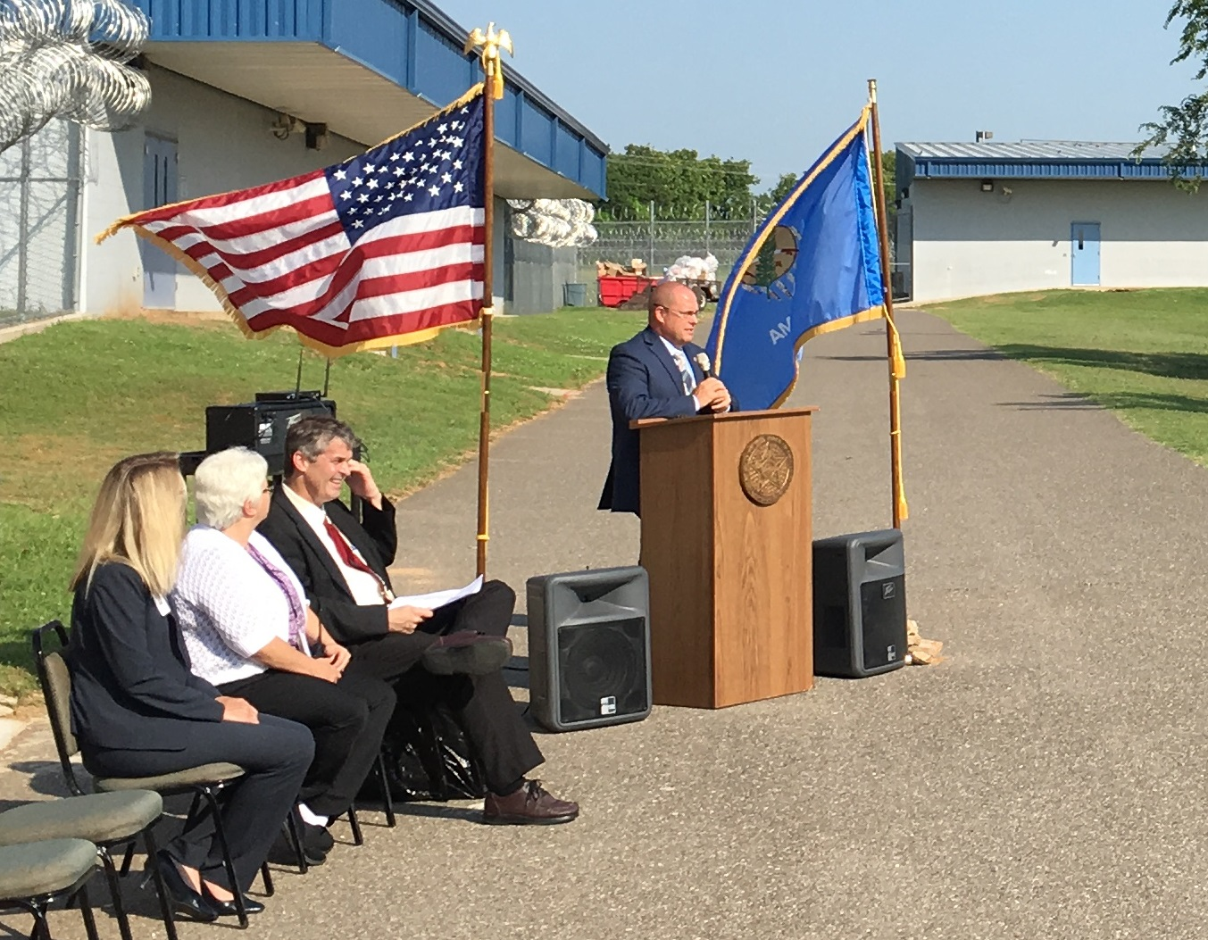 William Monday speaks at grand opening of the Serelda Cody Dog Training Facility