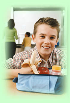 boy with healthy lunch