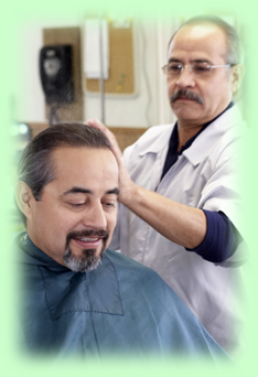 Barber license man working on client