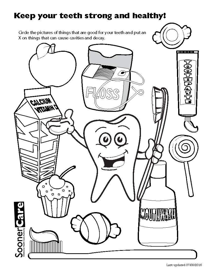 Strong teeth coloring page