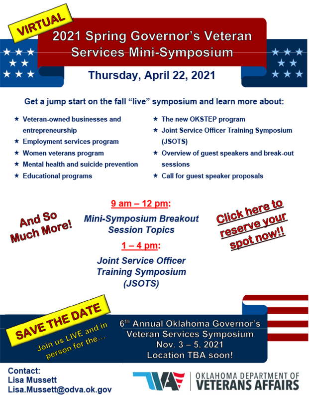 Governor's Veteran Services Mini-Symposium - April 22nd, 2021 - 9 am - 12 noon & 1 pm - 4 pm