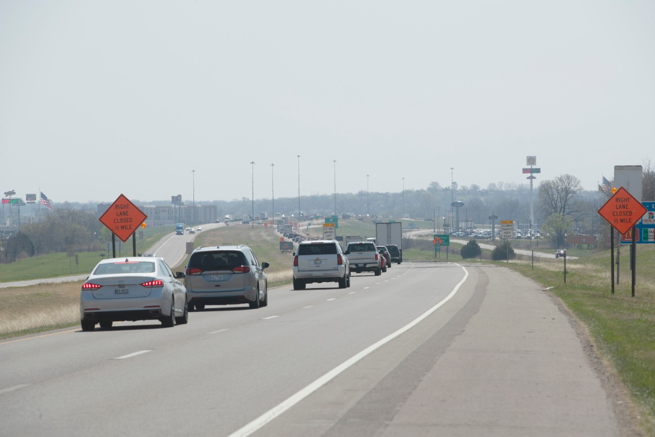 I-35 work zone in Pauls Valley
