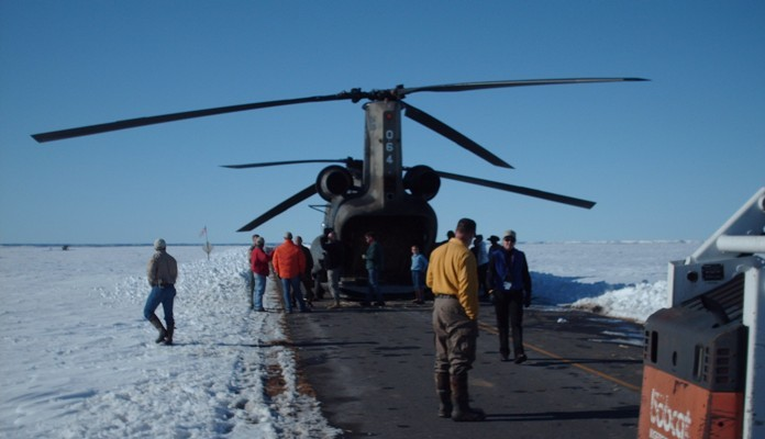 National Guard Chinook helicopter being loaded