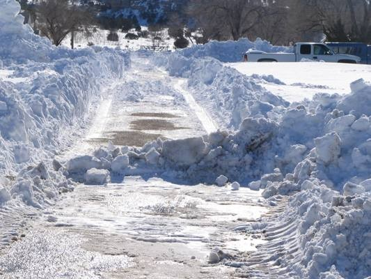 Partially cleared road in Boise City